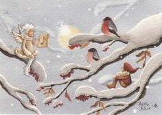 Katja Saario - Google zoeken Christmas 2014, Christmas Pictures, Vintage Christmas, Troll, Bullfinch, Winter Magic, Fika, Winter Wonderland, Illustrators