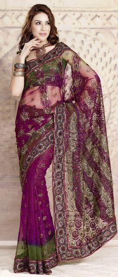 #Magenta and Olive #Green Net #Saree with #Blouse @ $51.03