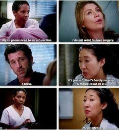 c-section, Grey's Anatomy Greys Anatomy Funny, Grays Anatomy Tv, Grey Anatomy Quotes, Grey Quotes, Tv Quotes, Movie Quotes, Grey's Anatomy, Anatomy Humor, Best Tv Shows