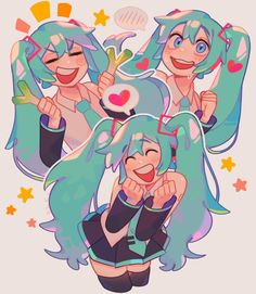 Cute Art Styles, Cartoon Art Styles, Hatsune Miku, Days Manga, Vocaloid Characters, Wow Art, Kawaii Art, Art Reference Poses, Character Design Inspiration
