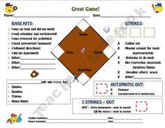 Great Game! Baseball Field Personalized Behavior Modification Chart