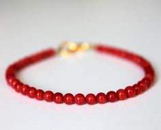 friendship bracelet Coral Beaded Bracelet with by silkandsilver, $7.50