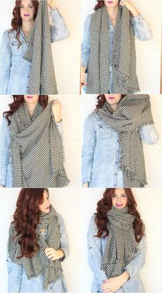 Here Are you can find gorgeous 14 Chic Ways To Wear A Scarf - Super Stylish Ideas with top tutorials.You begin by hanging it around your neck, one side hanging longer than the other. At that point take the highest point of th How To Wear A Blanket Scarf, Ways To Wear A Scarf, How To Wear Leggings, How To Wear Scarves, Tie Scarves, How Tie A Scarf, How To Wear Pashmina, Scarfs, How To Wear Loafers
