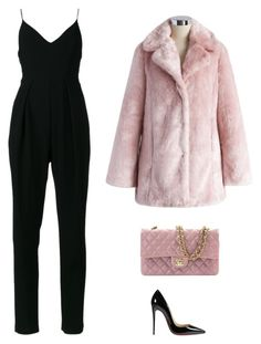 """Pink and black fluffy outfit"" by angelsommer on Polyvore featuring Chanel, Chicwish, Zimmermann and Christian Louboutin"