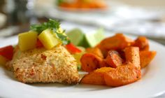 Coconut Crusted Salmon with Ginger Roasted Carrots