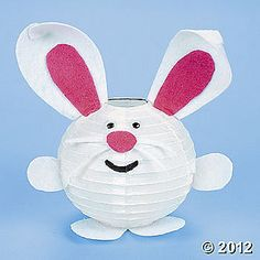 Hello rabbit!  Create this cute Easter craft with the kids. Shop various sizes of white paper lanterns at http://www.partylights.com/Lanterns/White.