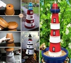 Para los amantes del mar, hoy tenemos una manualidad muy especial: Un faro hecho con macetas para iluminar el jardín.
