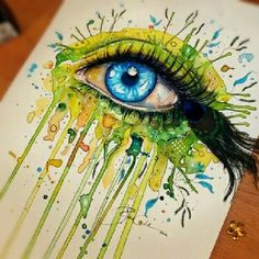 peacock eye drawing art green blue