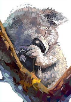 Lazy Australia Watercolor Koala Painting Drawing- Miscellaneous category World Image.