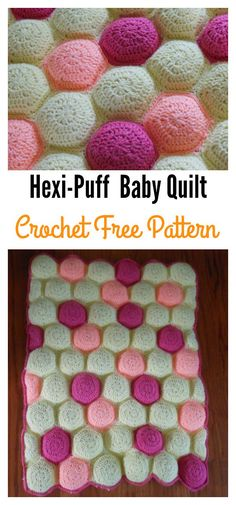 Hexi-Puff Crochet Baby Quilt Free Pattern