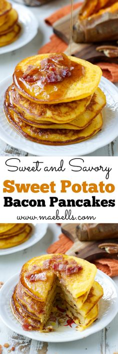 Sweet Potato Bacon Pancakes are the perfect mix of sweet and savory ...
