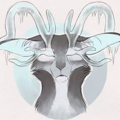 Closely related species as the previous, except this lives at the poles. I gave it those ice antlers I gave to finch one time. His eyes are all frozen so he can hardly see, just detect light n dark I guess