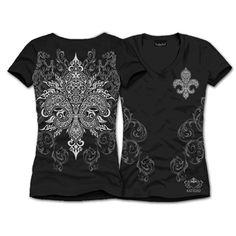 "This is a fav for sure! S/S TRIBAL FLEUR DE LIS Shirt $28.00 + FREE shipping when you enter the coupon code ""PINTEREST"" as you checkout online. #fleurdelis #LSU #LA #madeinusa #fashion"