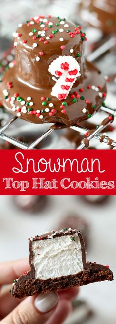 snowman top hat cookies chocolate covered marshmallow cookies for christmas christmas candy diy christmas - Easy Christmas Baking Ideas