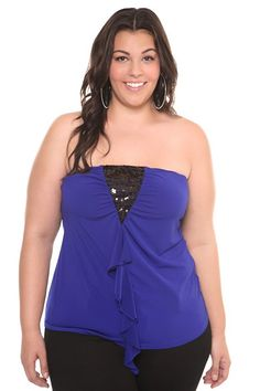 Electric Blue Sequin Ruffle Tube Top