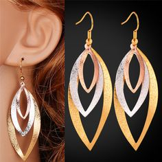 U7 Statement Earrings 2015 Fashion Jewelry For Women Multi tone Gold Plated Platinum/Rose Gold Long Big Earrings For Women