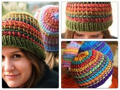 tunisian crochet hat