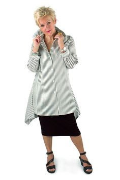 "Lousje & Bean ""Shirt"" in stripes with Pencil Skirt Spring/summer 2017 collection #essentials #pencilskirt #bestshirt #lousjeandbean #verticalstripes #theshirt #summer2017"