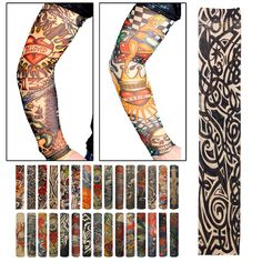 No.2 et No. 22 UV Protection Cool Rock Tattoo Arm Sleeves Outdoor Sports Fishing Cycling
