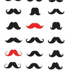 Black and Red Moustache Wallpaper - Casafina