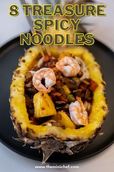 These 8 treasure spicy noodles (八宝辣酱面) are inspired by the popular Chinese TV show Meteor Garden. This is different from traditional 8 treasure spicy noodles because it uses pineapple one of the main ingredients (as was done on the show), which adds a fresh and vibrant flavor to this savory dish. #chinese #chinesefoodrecipes #chineserecipes #chinesenewyear #noodles #noodle #asianfood #asianrecipe #recipe #recipeideas #recipesfordinner #pineapple #foodporn #foodblogger #foodstagram #foodies Shellfish Recipes, Seafood Recipes, Indian Food Recipes, Asian Recipes, Noodle Recipes, Meal Recipes, Dinner Recipes, Healthy Recipes, Spicy Noodles Recipe
