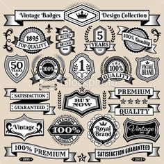 Custom Vintage Quality Black  White Banners, Badges, and Symbols Royalty Free Stock Vector Art Illustration