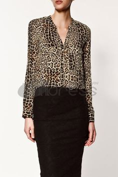Chiffon Shirts-Stand-up collar long-sleeved leopard shirt