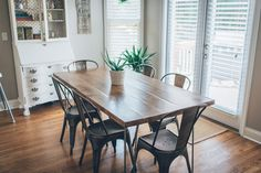 We wanted a kitchen table that was simple, neutral and could take a beating from us and the kids, but still develop some character over the years. It's 6 feet long x 3 feet wide, hard maple wood top with iron hairpin legs. I built the top and we purchased 4 hairpin legs. We... #diy #hairpin #table