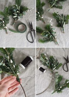 A minimalist Christmas wreath can add a simple, festive flourish of greenery to a space. Here's a tutorial on how to style a ring hoop two different ways Christmas Wreaths To Make, Christmas Time, Christmas Decorations, Pine Branch, Tree Branches, Alternative Christmas Tree, Minimalist Christmas, Wire Wreath, Buttonholes
