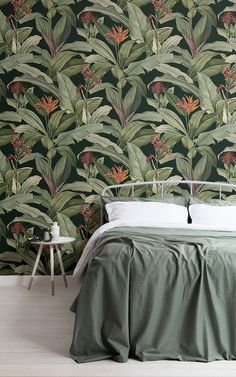 These beautiful wall murals are inspired by the botanical illustrations of Pierre-Joseph Redouté B&q Wallpaper, Watercolor Wallpaper, Green Wallpaper, Pattern Wallpaper, Motif Tropical, Tropical Design, Tropical Pattern, Tropical Leaves, Illustration Botanique
