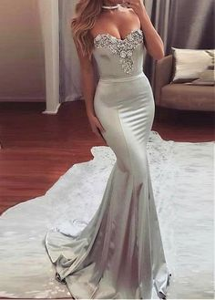 Buy discount Glamorous Acetate Satin Sweetheart Neckline Mermaid Evening Dresses With Beadings at Dressilyme.com