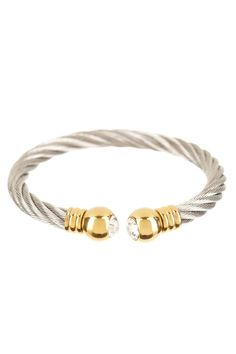 Bracelet Boutique  Crystal Ball Two-Tone Twisted Cable Cuff Bracelet