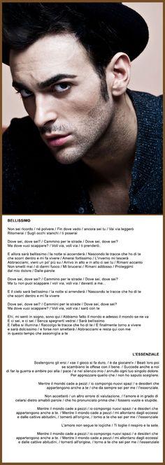 Marco Mengoni - (Bellissimo / L'essenziale) - Voce sublime in un artista di bell'aspetto. Animale da palcoscenico tra i più attesi al festival. Osannato dai musicisti per le sue qualità vocali, è tra gli artisti più amati in Italia. Ci si aspettano grandi cose da lui.