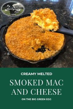 This is a delicious Smoked Mac and Cheese recipe that can be made on any smoker (obviously prefer the Big Green Egg). This creamy Mac and Cheese recipe is topped with Panko bread crumbs that are spice Smoked Mac N Cheese Recipe, Creamy Mac And Cheese, Mac And Cheese Homemade, Cheese Recipes, Yummy Recipes, Fast Recipes, Big Green Egg Bbq, Green Egg Grill, Green Eggs