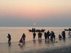 Sunset at Kuakata sea beach