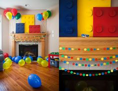 giant Lego artwork created using old canvases, empty satin ribbon spools, craft paper, puffy alphabet letters and spray paint