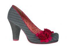 All my favs...grey, pinstripes, fushia flowers...LOVE THESE SHOES!  Ruby Shoo - Ruby Shoo Eva - Grey Pinstripe