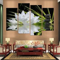 4 Panel Resumen Impreso Lotus Roca Lienzo Imagen de Arte Pintura Al Óleo Sin Marco Cuadros Para la Sala Modular Toile de Arte