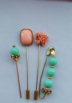 Check out this item in my Etsy shop https://www.etsy.com/uk/listing/468669673/sale-salmon-pink-mint-green-hijabbrooch
