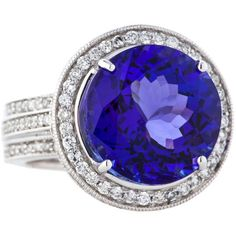 Pre-owned 14.64ctw Tanzanite and Diamond Ring ($9,500) ❤ liked on Polyvore featuring jewelry, rings, blue, drusy ring, tanzanite ring, filigree diamond ring, pave diamond ring and pre owned diamond rings