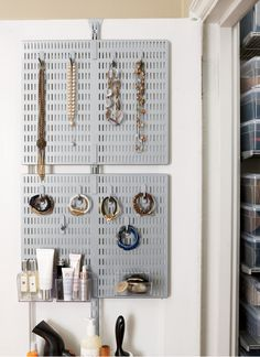 "Storage Jewelry Organization ideas - behind the door jewelry storage. - ""It was a big blob of black clothing!"" That's how our Regional Store Director, Robin, described her NYC bedroom closet. ""Whenever I bought something ne"