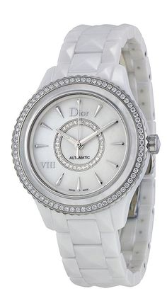 Christian Dior VIII White Mother of Pearl Dial Ceramic Ladies Watch CD1245E9C001 *** Want additional info for the watch? Click on the image.