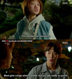 "Weightlifting Fairy Kim Bok Joo<<<<lol why do they use 'punk' so much, like if in english you say 'punk' people look at you like ""excuse me, what? Weightlifting Fairy Kim Bok Joo Funny, Weightlifting Kim Bok Joo, Korean Drama Funny, Korean Drama Quotes, Weighlifting Fairy Kim Bok Joo, Kim Book, Lee Sung Kyung, Do Bong Soon, Kdrama Memes"