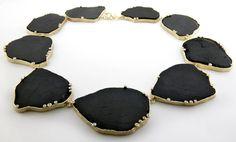 Neckpiece in black tourmaline and diamonds by Barbara Heinrich