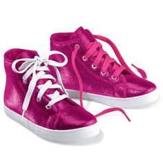 Glam sneakers add sparkle and fun to any look. Two sets of laces for variety. Polyester, plastic.