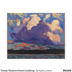 Tommy Thomson Ontario Landscape Evening Cloud Postcard Wildlife Paintings, Nature Paintings, Landscape Paintings, Canadian Nature, Canadian Art, Tom Thomson Paintings, Words On Canvas, Great Works Of Art, Classic Paintings