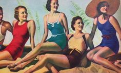 swimwear: consisted of fitted wool one pieces with cotton jersey lining, a mini skirt over boy shorts and frequemtly little belts accentuating the waist--usually simple tank straps and often low or even plunging backs---sunglasses and sun hats became popular when hollywood stars started wearing them in 30s