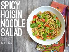Spicy Hoisin Noodle Salad - Budget Bytes A cold, crunchy, and totally fresh noodle salad packed with fresh veggies and flavor. Pasta Recipes, Salad Recipes, Cooking Recipes, Edamame, Vegetarian Recipes, Healthy Recipes, Noodle Salad, Bean Soup, The Fresh