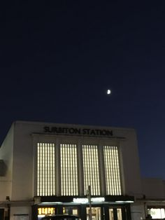 The moon above #Surbiton station