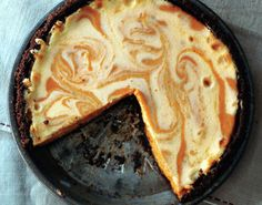 Pumpkin Spice Cheesecake - Make cheesecake with vegan cream cheese and soy milk For a healthier vegan version, skip the eggs and add 1/2 cup soft tofu. For both I used Earth Balance instead of butter in the crust. Awesome, flexible recipe!